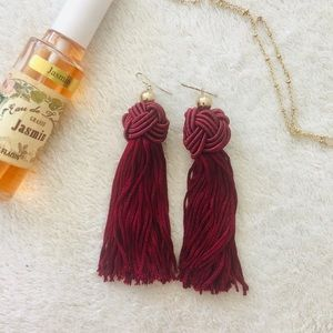 Red Knot Tassel Fringe Earrings